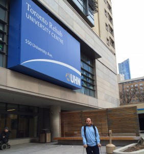 Standing in front of Toronto University Centre - Toronto Rehab Institute (TRI) where Dr. Satyendra Sharma dropped me every day to attend the 9th Canadian Association of Physical Medicine and Rehabilitation Course in the TRI Auditorium.