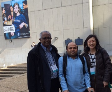 With 2 faculty members in front of U of T - Basic sciences - Anatomy prosections with Prof. Lalith Satkunam (left) - who is one of the pioneers of and on the faculty of the Review Course. He helped me a lot and expressed interest in going to Nepal. Dr. Audrey Yap (right), the co-ordinator of CAPM&R review course and one of the faculty.