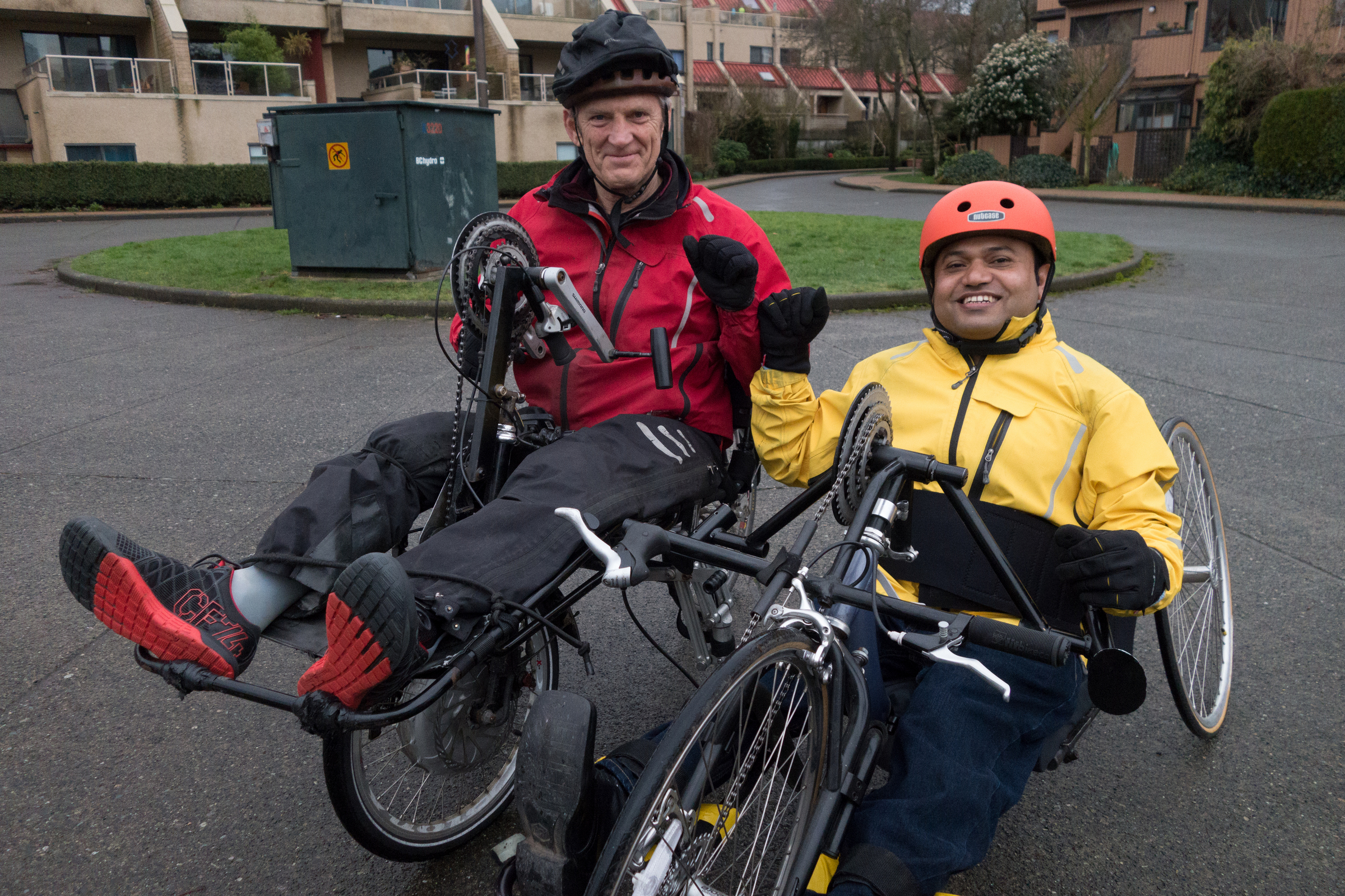 First weekend: Raju and friend Ed Milligan head off to explore the False Creek seawall route on two different handcycles.