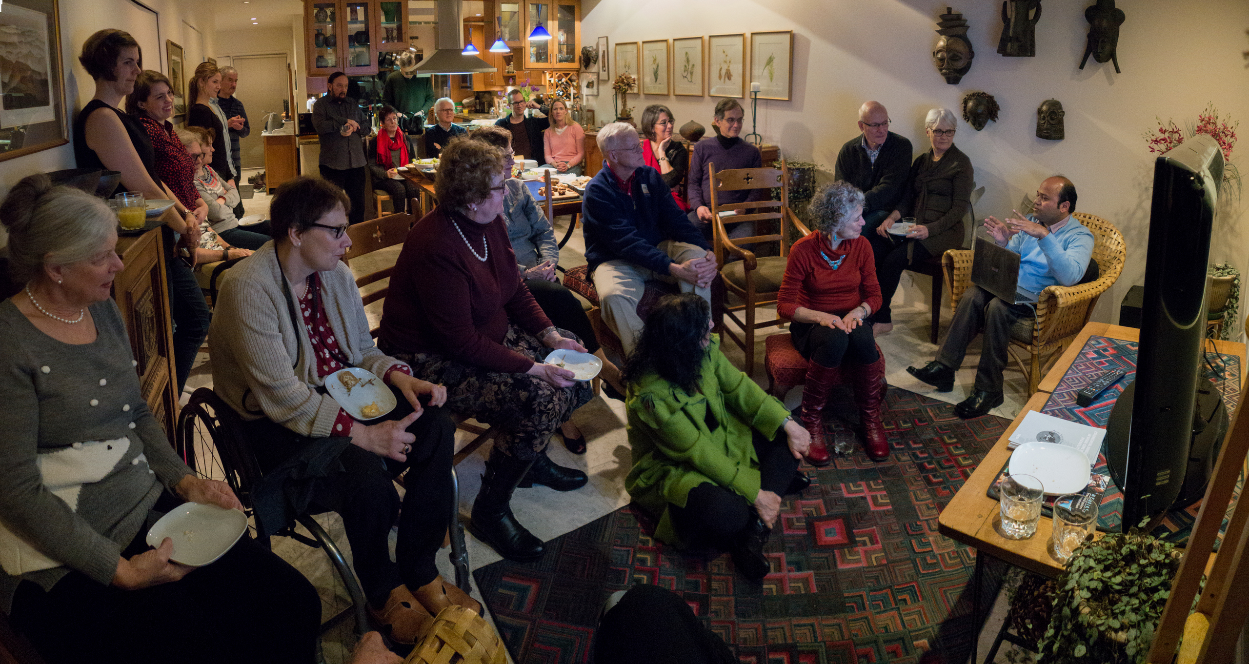 """With Spine Nepal friends and supporters at a """"Meet and Greet"""" at the home of Claire and Peter"""