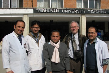 Spine surgeon Dr Dinesh Kafle (left) with Dr Raju Dhakal (centre), Dr Peter WIng and orthopaedic residents at TUTH