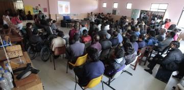Hospital staff attend an earthquake preparedness seminar